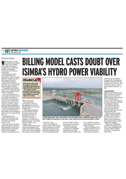 Billing mode cast doubt over Isimba HPP