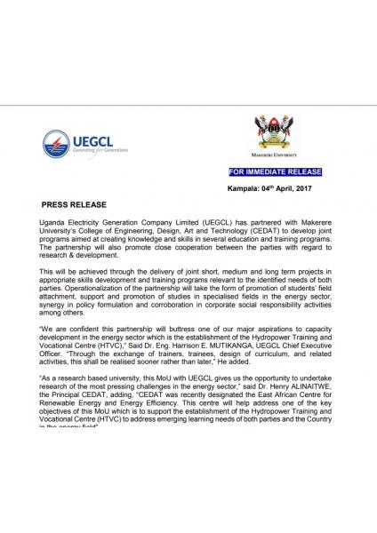 UEGCL-CEDAT Press release