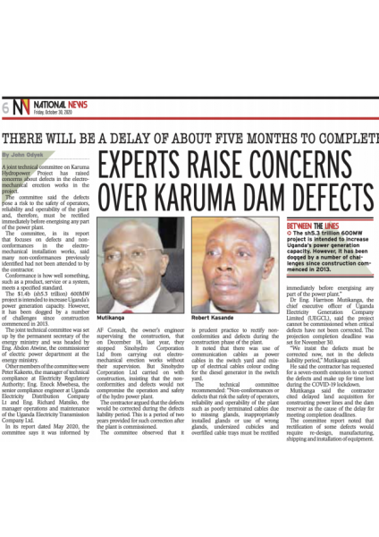 Experts raise concerns over Karuma dam defects