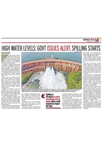 High Water Levels Alert