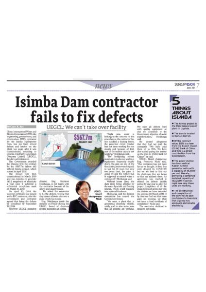 Isimba contractor fails to fix defects