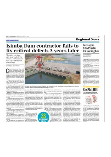 Isimba contractor fails to fix defects - Daily Monitor