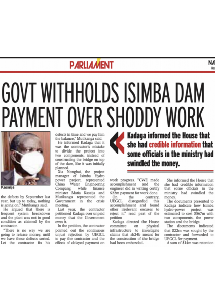 NV Isimba Article on withheld payments