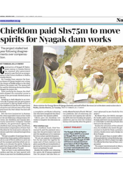 Chiefdom paid to move spirits  for Nyagak dam works