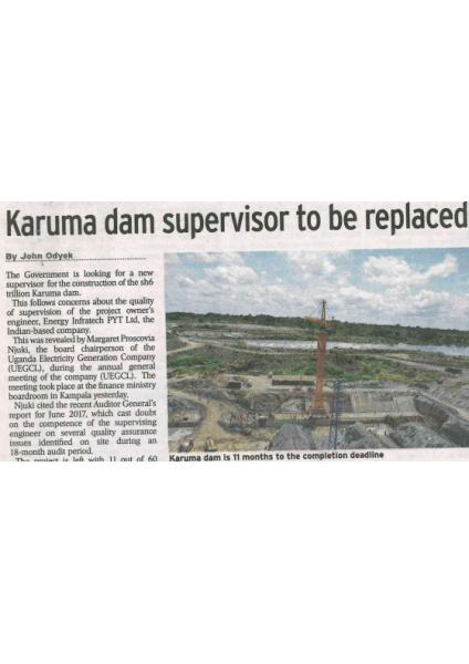 Karuma dam supervisor to be replaced