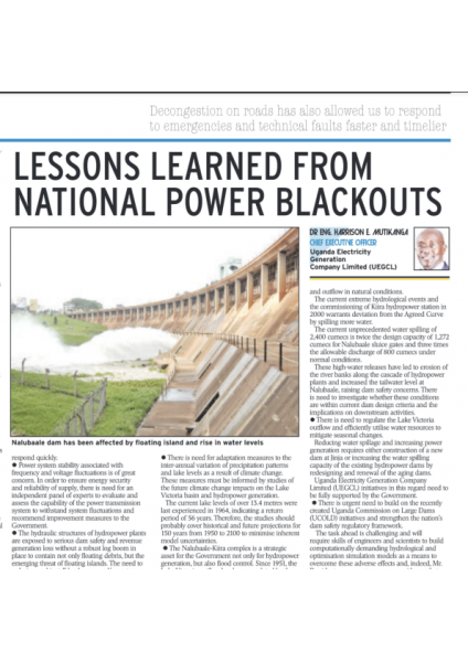 Lessons from power blackouts