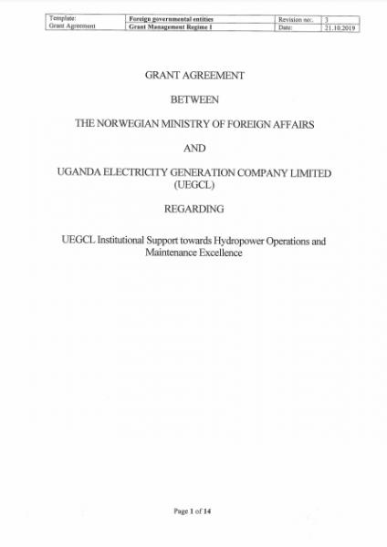Signed Financing Agreement Between UEGCL & the Norwegian Embassy