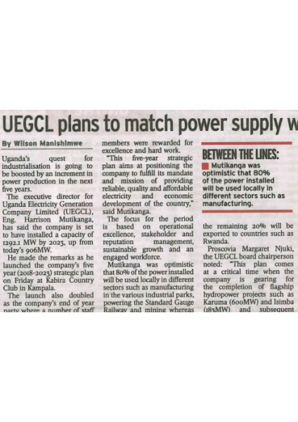 UEGCL plans to match power supply with demand