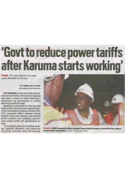Government to reduce power tariffs after Karuma starts working